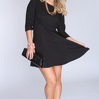 Black Quarter Sleeve Party Dress