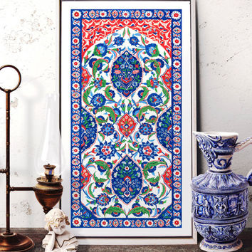 Turkish Ornament Tile Watercolor Art, Ottoman Iznik Tile Design Wall Art, Traditional Istanbul Floral Motif Prints and Original Painting 002