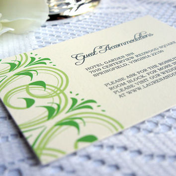 Green Wedding Enclosure Cards- Wedding Reception Cards, Accommodation Cards, Green Flourish, Swirl Design- DEPOSIT to get started