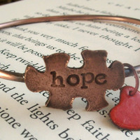 HOPE Autism Awareness Copper Bangle with by torchandhammer on Etsy