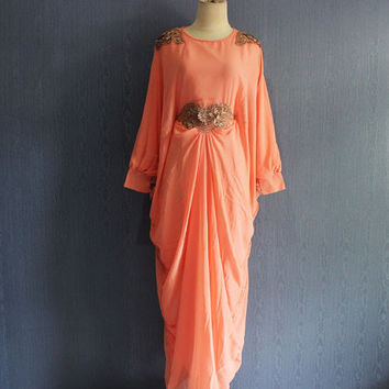 Beautiful Peach Kaftan Maxi Dress with lining Plus Size Soft Chiffon Caftan Maternity Oversized Dress, Best Seller Limited Edition Kaftan