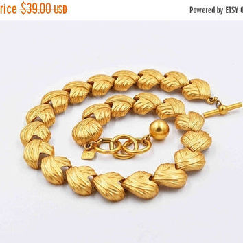 ON SALE Vintage Anne Klein Gold Heart Link Necklace, Draped Fabric Effect, AK, Choker, Satin Gold, Chunky, 3D, Bold Gold, Gorgeous! #b872