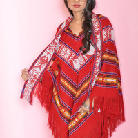 Red Mexican Fringe Poncho