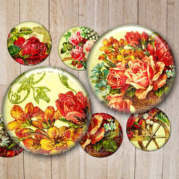 "Digital Collage Sheet Antique Roses Vintage Flowers for Pendant images Bottle cap Jewelry making Craft Gift tag 1,313"" 1 inch 2 inches"
