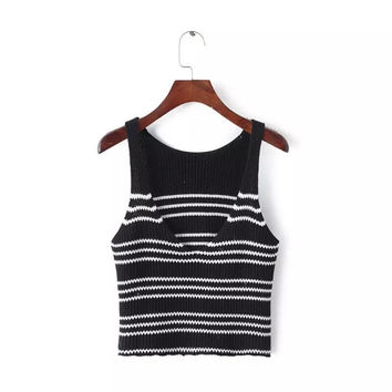 Hot Sexy Bralette Stylish Beach Comfortable Summer Stripes Slim Crop Top Sweater Vest [8940816391]
