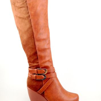 Tan Wedge Boot with Suede and Buckle Details