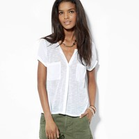 AE Button Front Pocket T-Shirt, White | American Eagle Outfitters