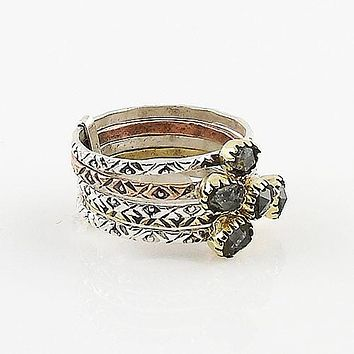 Herkimer Diamond Quartz Two Tone Sterling Silver Stack Ring