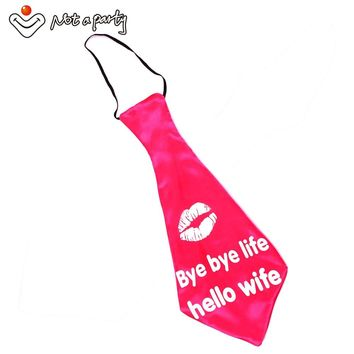 Novelty giant tie for bachelorette party bachelor favors hot pink satin bye bye life hello wife Chief bestman 4designs wedding