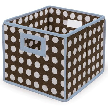 Badger Baskets Folding Basket Storage Cube (Blue Trim & Brown Polka Dot)