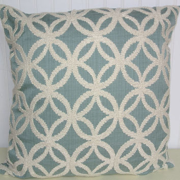 Embroidered Decorative Pillow Cover---18x18 or 20x20 or 22x22 ChenilleThrow Pillow- Blue and White