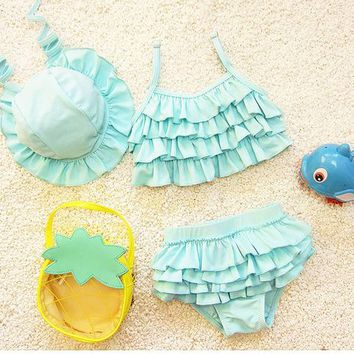 kids swimwear girls two pieces child swimsuit with ruffle mermaid tails children bikini baby girl little girls swim suits
