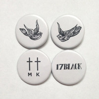 Harry Styles Tattoos Pinback Buttons Set