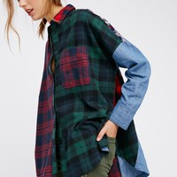 Free People Rainbow Rays Plaid Buttondown
