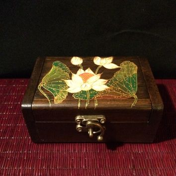 Lotus Flower Jewelry Box / Thai Teak Wood / Keepsake / Handmade