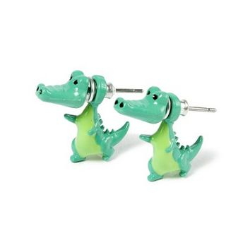 Crocodile Front and Back Stud Earrings  | Claire's