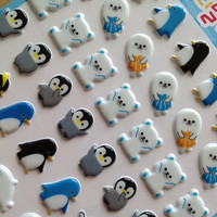 Arctic animal sticker polar bear penguin deco sticker mini icon kawaii baby animal diy gift card deco smartphone case diary 2014 scrapbook