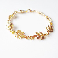 Aphrodite - Gold Leaf Bracelet - Grecian Greek Cute Adorable Minimal Minimalist Fashion Modern Elegant Romantic Whimsical Dreamy Autumn Fall