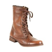 Troopa - Women's Combat Black Leather Boots by Steve Madden