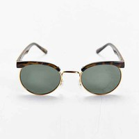 Gold Trim Tortoise Round Sunglasses