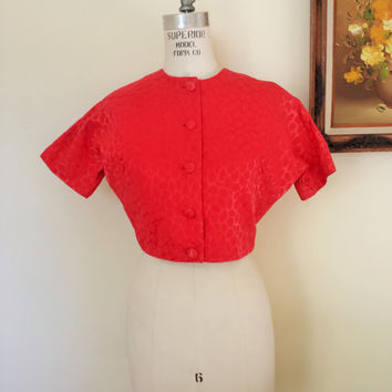 Vintage 1960s Bolero Jacket / Red 60s Jacket / 60s Red Bolero / Dolman Sleeve / Vintage Cover Up / Cropped Jacket