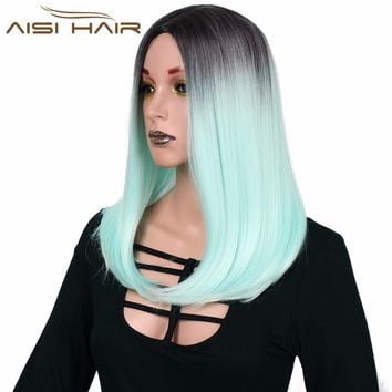 I's a wig 18 inch Bob Hair  Short Ombre Green Straight Wigs for  Women  Synthetic Cosplay Wig High temperature Fiber
