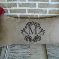 Burlap Damask Monogrammed Pillow with Est. date