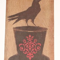 Gift Tags Christmas Primitive Raven  Set of 6 Different Images