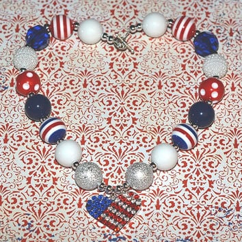 4th of July heart flag Chunky Bubblegum Necklace, Girls necklace, Toddler Chunky Necklace, First Birthday, cake smash, photography prop