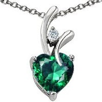 Amazon.com: Original Star K(tm) Heart Shaped 8mm Simulated Emerald Pendant in .925 Sterling Silver: Star K: Jewelry