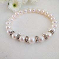 White Freshwater Pearl with Rhinestone Spacer Stretch Bracelet, Bridal Bracelet, Gift Idea, Christmas, Valentine's Day, Mother's Day