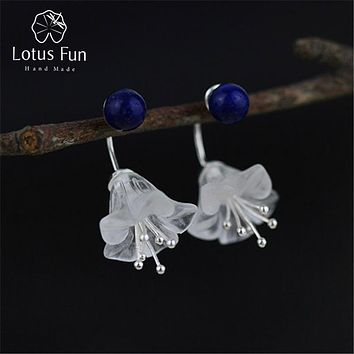 Lotus Fun Real 925 Sterling Silver Natural Crystal Creative Handmade Fine Jewelry Fresh Flower Drop Earrings for Women Brincos
