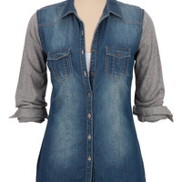 Button Down Denim Shirt with contrast sleeves