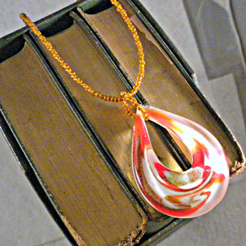 Handmade Orange Dichroic Dewdrop Murano Art Necklace on a Beaded Cord with Czech Glass Seed Beads