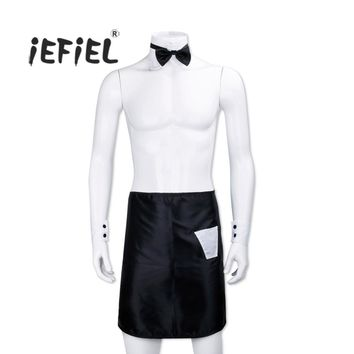 iEFiEL 4PCS Men Lingerie Apron with Bow Tie Collar Cuffs Cosplay Party Halloween Nightwear Club Costume Party Waiter Clothing