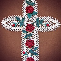 Cross Wall Art, Pineapple and Roses from Heritage Heartcraft