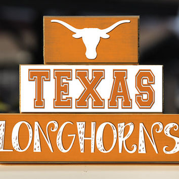 Texas Longhorns - Trio Wood Blocks Stack - Burnt Orange White - Home Decor Gift - Austin Texas