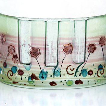 Fused glass Curved vase dwvided to three vases, pastels Summer Sell collection