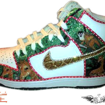 Custom Safari Giraffe and Monkey with a pink bow Nike by WhySoFly
