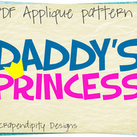 Daddys Girl Applique Pattern - Father Daughter Quilt Template / PDF Girls Applique Shirt / Cute Baby Clothes / Nursery Wall Hanging AP166-D