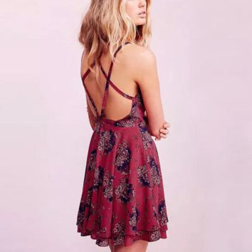 Summer Red Wine Floral Print Strappy Criss Cross Back Skater Dress Lady Summer Dress-0531