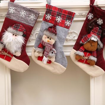 Christmas Stocking Santa Socks Christmas Gift Bags For Kids Christmas Decoration For Home Xmas Tree Hanging Decor Navidad 2017