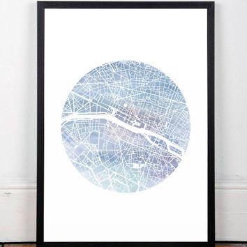 Paris map, Watercolor print, Map print, Modern art print, Wall print, Home decor, Watercolor poster, Map poster, Wall art, A3 print, Office