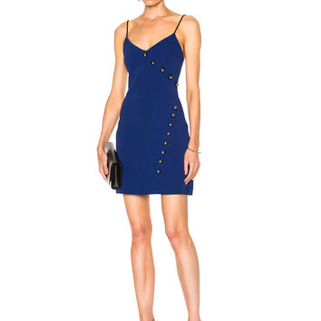 David Koma Loops & Metal Balls Detailing V-Cut Mini Dress in Blue & Black | FWRD