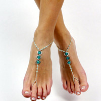 Aqua and Silver Minimalist Pair of Beaded Barefoot Sandals Foot Jewelry Foot Thong Anklet Summer Beach Jewelry Bridal Foot Wear Shoeless