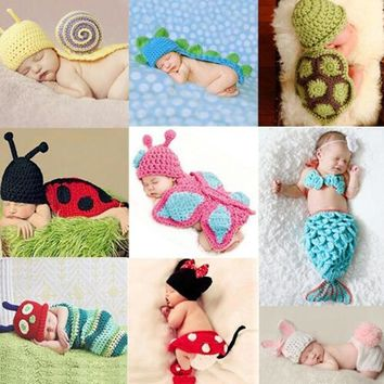 2017 New Baby Cute Animal Hat Set Newborn Crochet Knit Clothes Photography Photo Props Outfit Hammock Costumes Baby Shower