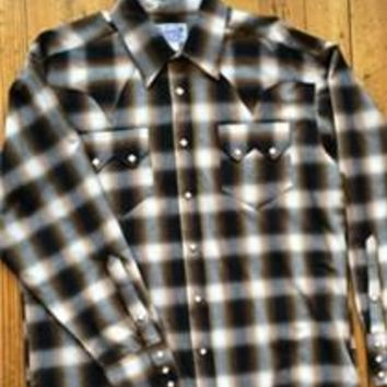 Men's Shadow Plaid Sawtooth Pocket Cotton Western Shirt