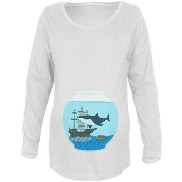 DCCKJY1 Fish Bowl Cute Shark Tank Maternity Soft Long Sleeve T Shirt