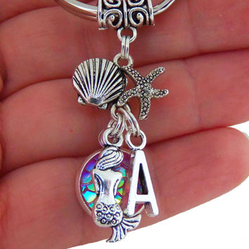 Mermaid scale keychain with custom initial, mermaid key chain with letter, personalized gifts, monogram keychain, bridesmaids gift, initials