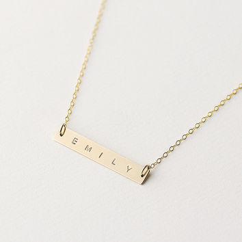 Personalised gold bar necklace - 14k gold filled horizontal bar necklace - customised name bar - gold name plate necklace - initial necklace